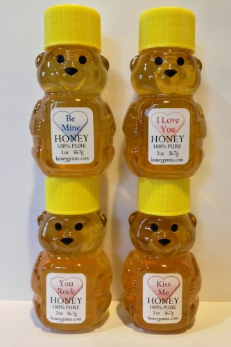 I Love You, Kiss Me, Be Mine, You Rock Unique Gift Set of Four 2 Oz. – Honey Bears with Sweet Messages