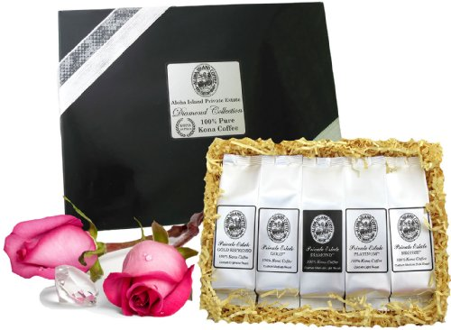100% Pure Kona Coffee Gift, Limited Edition for Fathers Day, Birthdays, Business Gifts, Christmas and All Occasions, Ground Coffee Brews 60 Cups