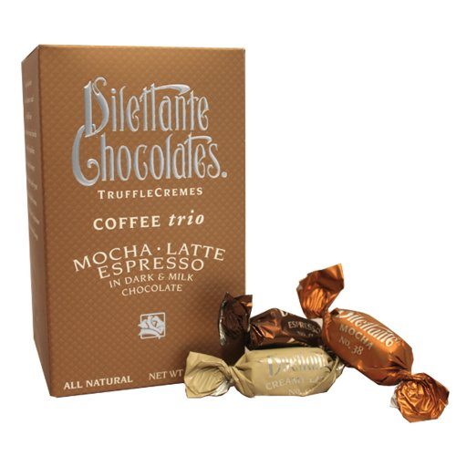 Coffee Trio Truffle Crèmes in Dark & Milk Chocolate – Mocha, Latte & Espresso – 10oz Gift Box – by Dilettante (3 Pack)