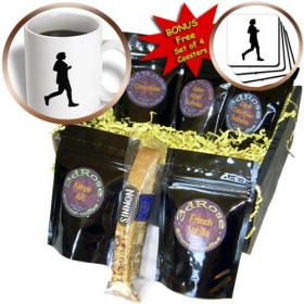 cgb_60613_1 CherylsArt People – Black Silhouette Painting of a Woman Runner Running – Coffee Gift Baskets – Coffee Gift Basket