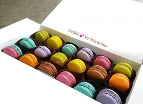 Macarons – Mini Macarons – 18 Assorted Chocolate and Fruit Flavors