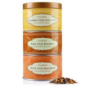Tea Forte Loose Tea Trio – Chai Sampler- Chakra Chai Coconut, Raja Chai Rooibos, Maya Chai Macaron