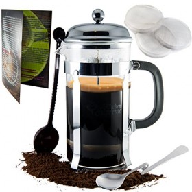 French Press Coffee & Tea Maker Complete Bundle | 8-Cups, 34 Oz | Best Coffee Press Pot with Stainless Steel & Heat Resistant Glass | Barista's call it Espresso Machine