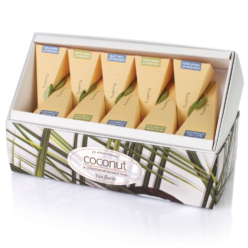 Tea Forte Coconut Collection Ribbon Box – 20 Silken Pyramid Infusers
