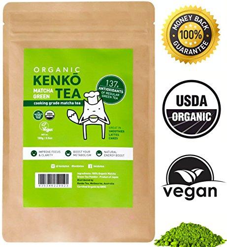 Kenko Matcha Green Tea Powder [USDA Organic] Japanese Culinary Grade Matcha Powder for Lattes Smoothies Baking -100g Bag [50 Servings]