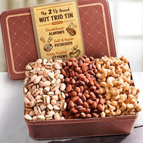 Golden State Fruit, Smoky, Savory and Sweet Nuts Gift Tin, 2.5 Pound