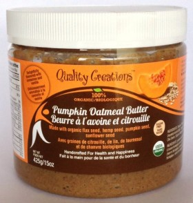 SUGAR FREE Pumpkin Oatmeal Butter – 100% Organic. Very Spreadable and So Creamy. Made with Pumpkin Seed, GF Oats, Flax Seed, Hemp Seed and Sunflower Seed. GMO Free. Gluten Free. Delightfully Flavored with Cinnamon and Vanilla. 425g/15oz