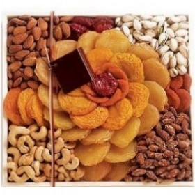 Broadway Basketeers Gift Basket Rose Arrangement of Dried Fruits and Nuts