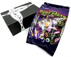 Frankford Gummy Body Parts Candy, 17.2 oz Bag (65 Pieces) in a BlackTie Box