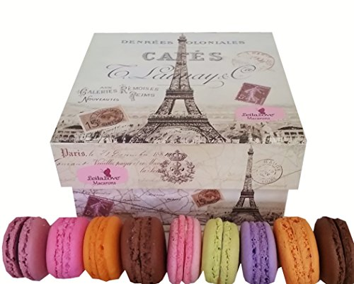 Leilalove Macarons- Paris Souvenir Box of 18 Gourmet Macarons- Our Best Collections of Fruits, Floral & Chocolate – 10 Flavors