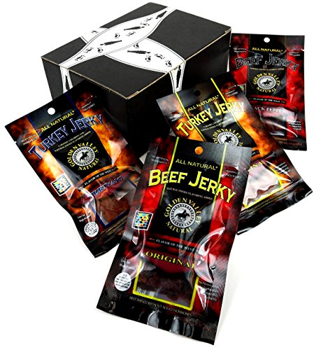 Golden Valley Natural Jerky 4-Flavor Variety: One 1 oz Packet Each of Original Turkey, Teriyaki Turkey, Original Beef, and Black Pepper Beef in a BlackTie Box