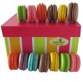 Leilalove Authentic 15 French Macarons – Assorted Fruits, Floral and Chocolate Flavors-%50 Organic