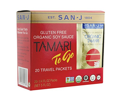 San-j Organic Tamari Gluten Free Soy Sauce Travel Packs 20×1/4fl.oz(Pack of 3)