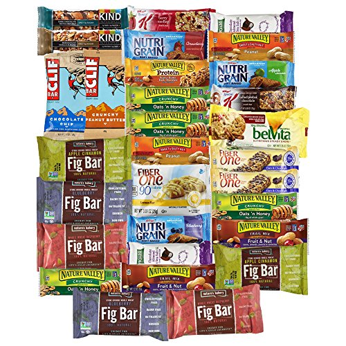 Healthy Bars Variety Pack Includes Kind Bars Cliff Fig Bar Nature Vallley Kashi Fiber One Brownie Nature Valley Protein Nutri Grain & More Includes Recipes By Custom Varietea Bulk Sampler 30 Count