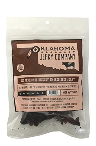 Old Fashioned Style Gluten Free Hickory Beef Jerky – No Frills Tough and Dry Style Beef Jerky – All Natural, No Added Preservatives and No Added MSG – 3 oz.
