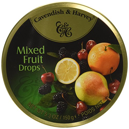 Cavendish & Harvey Mixed Fruit Drops, 5.3 oz Tins in a BlackTie Box (Pack of 3)