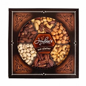 """Gourmet Nuts Gift Tray (2 lb) – Super Elegant, Delicious, Vegetarian Friendly and Kosher – Perfect for Birthday, Holiday, Get Well, Congratulations or any occasion – Love it or it's free – That's our """"Jaybee Guarantee""""."""