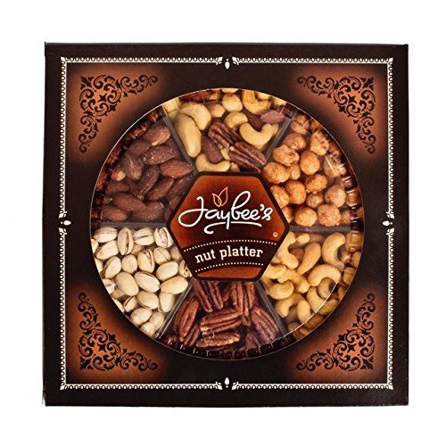 "Gourmet Nuts Gift Tray (2 lb) – Super Elegant, Delicious, Vegetarian Friendly and Kosher – Perfect for Birthday, Holiday, Get Well, Congratulations or any occasion – Love it or it's free – That's our ""Jaybee Guarantee""."