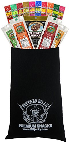 Buffalo Bills 15-Piece Beef Jerky & Beef Stick Sampler Black Velour Wine Gift Bag (15 mixed packs)