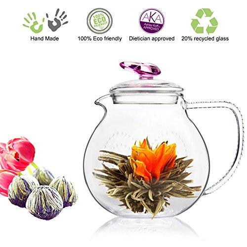 Tea Beyond Tea Set Teapot Pink Love 34 Oz Detox Flowering Tea White Tea No GMO No Natural Flavors Added Glass Teapot with Tea Infuser Non Drip Teapot for Flowering Tea or Loose Leaf Teas