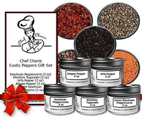 Chef Cherie's Exotic Peppers Spice Gift Set-Contains 5 2 Oz. Tins
