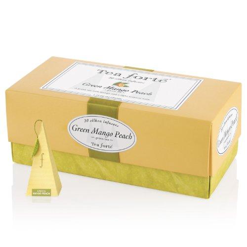 Tea Forte Ribbon Box – 20 Silken Pyramid Infusers – Green Mango Peach