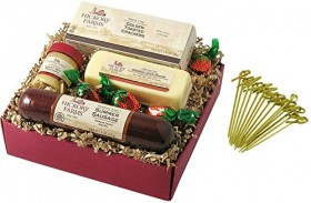 Hickory Farms Farm House Sampler Gift Set 12.15 oz Summer Sausage Jack Blend Sweet Hot Mustard Toasted Crackers Strawberry Candy with Exclusive Bamboo Toothpicks