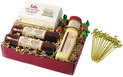 Hickory Farms Holiday Tradition Gift Set 17.15 oz includes Summer Sausage | Jalapeno & Cheddar | Sweet Hot Mustard | Golden Toasted Crackers | Strawberry Bon Bons with Exclusive Bamboo Toothpicks