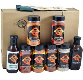 The Pit Master – Gift Basket is the best of the Backyard Grill BBQ Gift Basket – Spices & Sauce 11pcs set. What you get in this gift box: A Shaker of Killer Bee Rub (Honey Rub) – Killer Bee Chipotle (Honey Rub) – Dirty Bird Rub – Dirty Bird HOT Rub – Cow Cover Rub – Texas Beef Rub And a bottle each of – Competition BBQ Sauce – Sweet Apple Chipotle BBQ Sauce 2 – Kosmo's Drink Coasters 1 – Kosmo's Drink Koozie