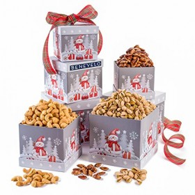 Let It Snow, Gourmet Merry Christmas, Holiday Roasted Nuts Gift Grey 3 Tier Tower
