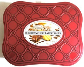 European Chocolate Cookie Tin Assortment of 12 Cookie Varieties with Dark, Milk and White Chocolates Net Wt 3 Lbs 1.3 OZ (1400 g)
