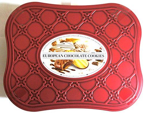 European Chocolate Cookie Tin Assortment of 12 Cookie Varieties with Dark, Milk and White Chocolates Net Wt 3 Lbs 1.3 OZ (1400 g)