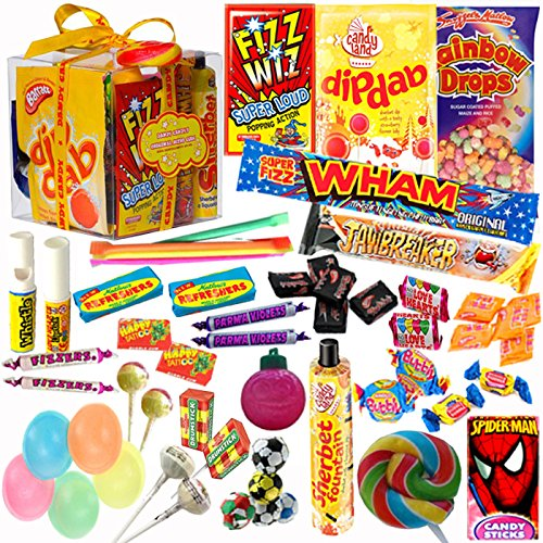 The Original Retro Sweets Candy Gift Box from Dandy Candy – The Perfect Gift For Fathers Day or Anyone: Includes Over 100 Retro Sweets From Your Childhood Memories