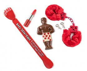 The Perfect Man Lovers Valentines Day Gift, Fun for Your Boyfriend, Girlfriend Or Any Friend, Includes Chocolate, Fuzzy Handcuffs, Body Scratcher, and Lipstick Pen