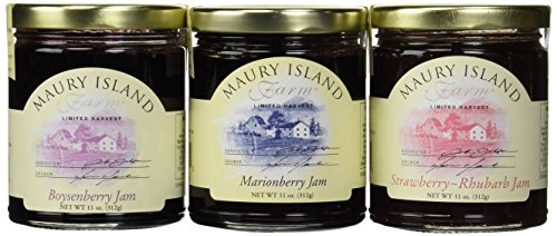 Maury Island Limited Harvest Jams 3-Flavor Variety: One 11 oz Jar Each of Boysenberry, Marionberry, and Strawberry-Rhubarb in a BlackTie Box (3 Items Total)
