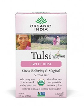 Organic India Tulsi Caffeine Free Tea, Sweet Rose, 18 Count