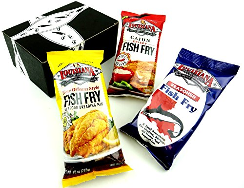 Louisiana Fish Fry Breading Mixes 3-Flavor Variety: One 10 oz Package Each of Seasoned Fish Fry, Cajun Crispy Fish Fry, and New Orleans Style Fish Fry in a Gift Box
