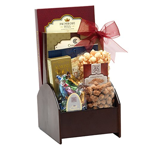 Broadway Basketeers Corporate Wooden Swivel Gift Basket with Assorted sweets, cookies and gourmet popcorn