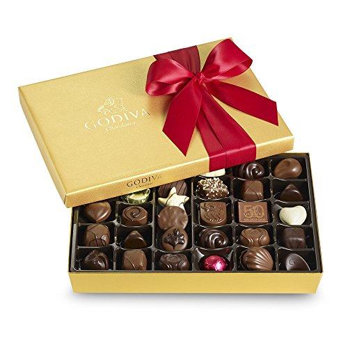 Godiva Chocolatier Red Ribbon Ballotin Valentines Chocolate Gift, 36 Count