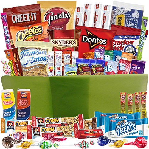 Care Package Gift Baskets With 52 Sweet And Salty Snacks For College Students Gifts