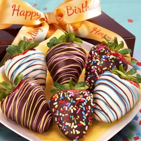 Golden State Fruit 6 Happy Birthday Chocolate Covered Strawberries