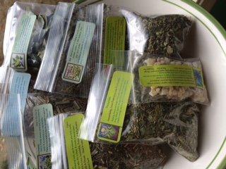 Herb Collection 8 ~ Wicca ~ Ravenz Roost herbs with special info on labels ~ 7 dried herbs ~ 1/2 oz each & 1/2 oz Frankincense