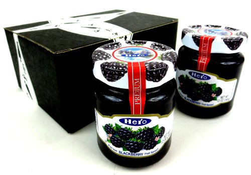 Hero Premium Blackberry Fruit Spread, 12 oz Jars in a Gift Box (Pack of 2)