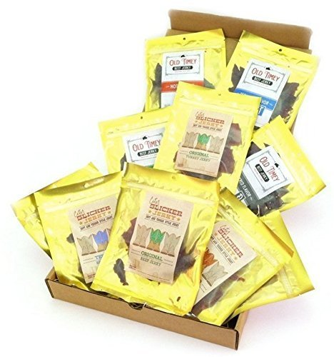 Bricktown Jerky Sampler Gift Basket – Regular Size – 11 – 1.5 oz. Bags of Delicious Jerkey – Beef Jerky, Pork Jerky, Turkey Jerky = Great Gift Idea for any Man!