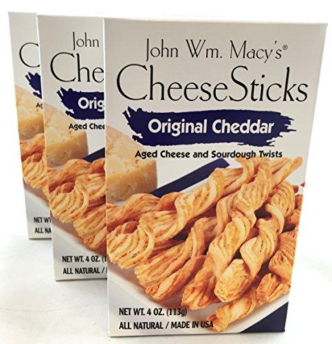 3 Pack John Wm Macy's Original Cheddar CheeseSticks Gourmet Snack