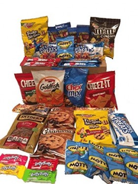 Cookies Chips & Candies Variety Pack Bundle Assortment Includes Cheez-It's Goldfish Laffy Taffy Rice Krispies Chex Mix Oreos & More Bulk Sampler 40 Count