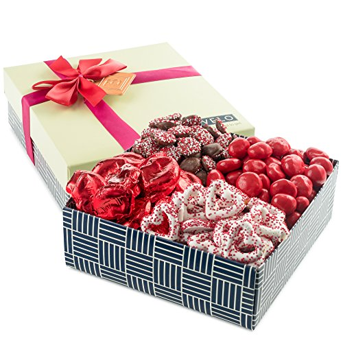 Happy Valentines Day, Assorted Sweets Benevelo Gift Box, Includes Nonpareils, Milk Chocolate Hearts, White Pretzels, Red Cherries, Romantic Treats for the Loves in Your Life!