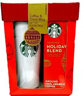 Starbucks Travel Mug & Coffee Gift Set-2015 Starbucks Holiday Blend Coffee Gift Set Packaged in Red Gift Box