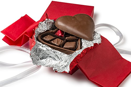 Happy Valentines Gift, Gourmet Chocolate Truffle Gift Fully Edible 5″ Chocolate Heart Filled with Chocolate Truffles CRACK IT OPEN!