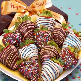 Golden State Fruit 12 Happy Birthday Chocolate Covered Strawberries